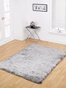 "Soft Silky Luxuries Shiny Shaggy Rug in Silver 60 x 110 cm (2' x 3'7"") Carpet from Lord of Rugs"