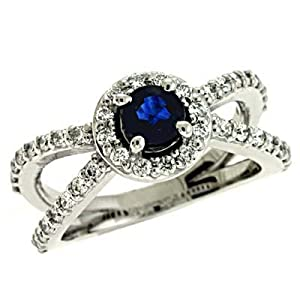 14k White Sapphire and Diamond Ring - Size 7.0 - JewelryWeb