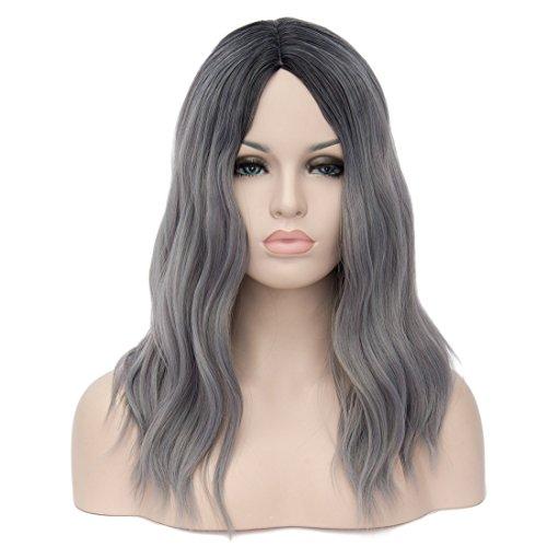 Women Wigs Long Curly Wig Medium Long Shoulder Length Wavy Yaki Big Wave Black Grey Ombre Gradient Ramp European Style