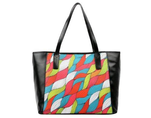 Tom'S Ware Women Highest Quality Made In Korea Rainbow Braid Printed Fashion Shoulder Bag Twy1191-Black