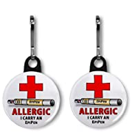 ALLERGY ALERT EPIPEN 2-Pack of 1 inch Zipper Pull Charms by Creative Clam
