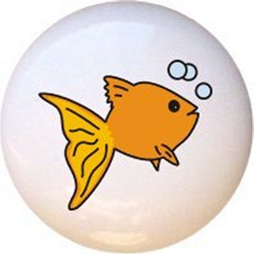 Aquarium by CCL Goldfish with Bubbles Ceramic Cabinet Dresser Drawer Pull Knob
