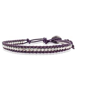 Rafaela Donata Bracelet Cuir véritable violet Beads métal couleur argent 60831040