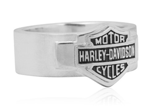 Harley-Davidson .925 Silver Satin Finish Modern B&S Band Ring (12)