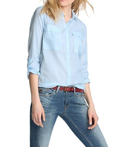 Esprit Camisa Mujer Azul Claro ES 38 (DE 36)