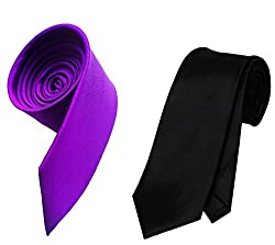 WSD men's narrow royal blue purple and red micro fiber tie pack of three (Black and Purple)