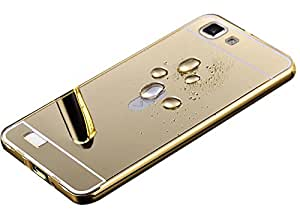 Carla Branded Luxury Metal Bumper + Acrylic Mirror Back Cover Case For VivoV1 Gold + Portable & Bendable Silicone, Super Bright LED Lamp, 360 Degree Flexible by CarlaStore.