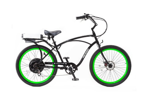 PEDEGO Electric Bicycle Classic Cruiser Black/Lime Green