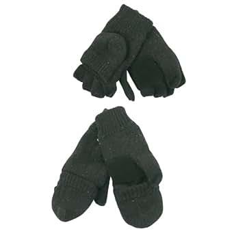 Men's Ragwool / Thinsulate Lined Convertible Mittens / Fingerless Gloves - Black, L/XL