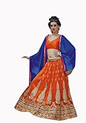 Khushi Trendz Orange Net Designer Lehenga Choli
