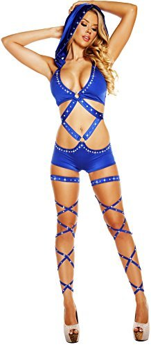 Roma Women's Hooded Monokini with O-Ring and Rhinestones, Royal Blue, One Size