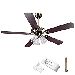 5-Blades Counterclockwise/ Clockwise, 3 Speeds, E27 Bulb 3-Light Ceiling Fan w/ Remote Control (52\