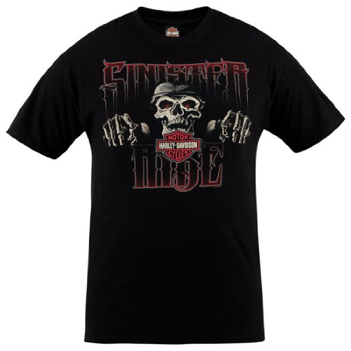 Harley-Davidson Mens Sinister Ride Skull Black Short Sleeve T-Shirt (X-Large)