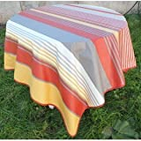 Tablecloth CHILIENNE Square Spill-Proof Cotton Print 160x160cm Orange & Yellow
