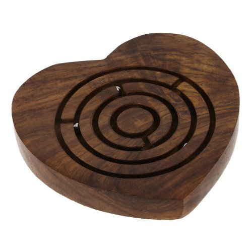 Wooden Game Toy Labyrinth Ball In Maze Puzzle Heart Shape