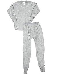 Indera Big Boys Long Sleeve Thermal Set, Grey, 710ST 27478-X-Large
