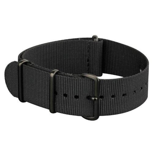 INFANTRY Military Black NATO Watch Band Nylon Fabric Strap G10 4 Rings 20mm Divers Heavy Duty Strong #WS-NATO-BB-20M