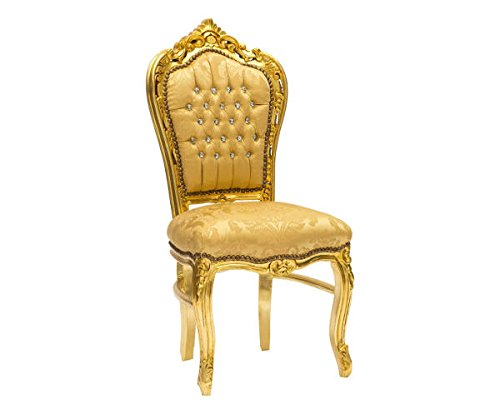 Sedia BAROCCO Oro con Gemme Tessuto 60 x 52 x 110 cm