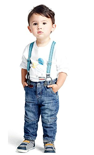 StylesILove Baby Boys Space Graphic T-shirt, Suspender Straps and Jeans 3-pc