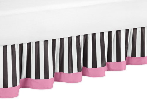 Toddler Bed Skirt For Pink, Black And White Stripe Kids Childrens Paris Bedding Sets By Sweet Jojo Designs