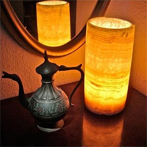 Very Cheap Bedside Lamps discount: Egyptian Alabaster Cylinder Lamp