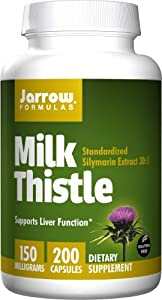 Jarrow Formulas Milk Thistle Standardized Silymarin Extract 30:1 Ratio, 150 mg per Capsule, 200 Gelatin Capsules