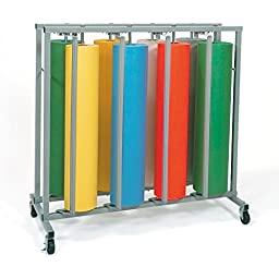 Pacon 67791 Mobile vertical rack for eight 36 x 1000 ft. paper rolls, 48-1/2w x 25d x 48h