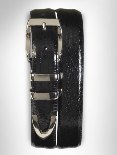 Tulliani Big & Tall Teju Lizard Embossed Belt (52, Black)
