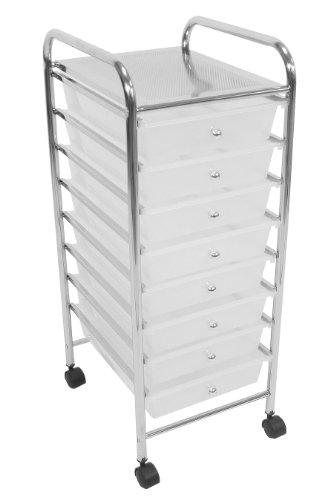 Premier Housewares 1600441 Chariot avec 8 Tiroirs/Cadre en Tube en Plastique/Acier Blanc/Chromé