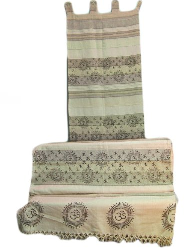 Indian Home Decor Bohemian Om Namah Shivay Sanskrit Cotton Throw And Curtain Set front-331935