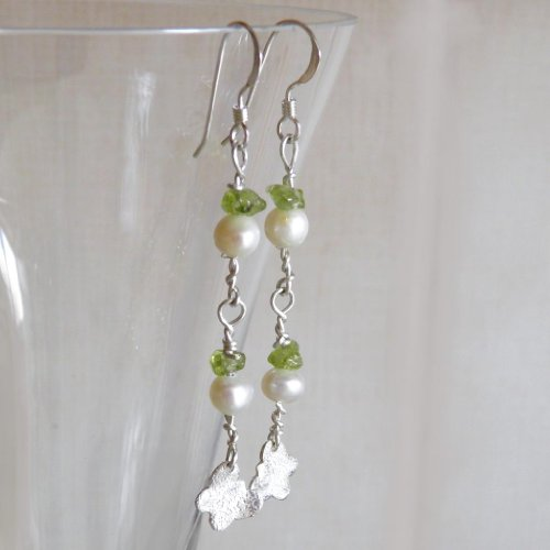 Handmade 925 Sterling Silver Butterfly Peridot, Ivory Pearl Earrings-FREE Delivery in UK & Gift Wrap