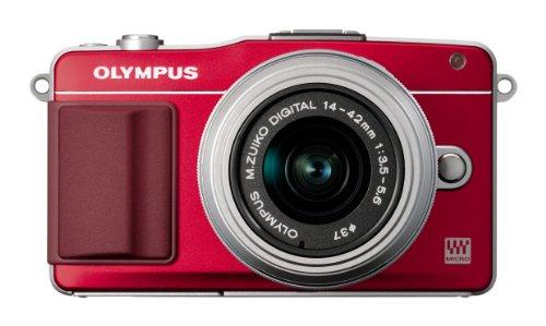 Olympus PEN E-PM2 Systemkamera (16 Megapixel, 7,6 cm (3 Zoll) Touchscreen, bildstabilisiert) Kit inkl. 14-42mm Objektiv rot