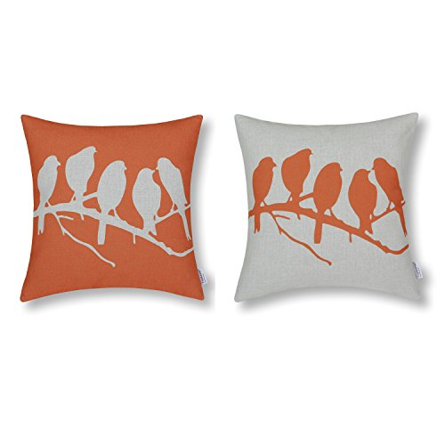 Set of 2 Euphoria CaliTime Cushion Covers Throw Pillow Shells, 18 X 18 Inches, Shadow Birds in Tree Branch, Orange Combo Set
