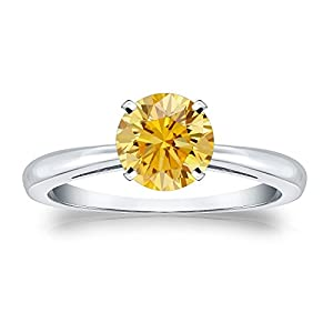 1 cttw Round-cut Yellow Diamond Solitaire Ring in Platinum, Size 5.5