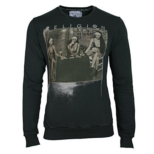 RELIGION Felpa Uomo STRIP POKER - cotone, dark metal, 100% cotone, Uomo, L, scuro metallo