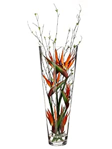 "38""Hx11""Wx11""L Birds of Paradise/Bamboo Branch in Tall Glass Vase Orange"