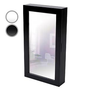 Armoire bijoux murale noir avec miroir 56 x 31 x for Miroir noir dvd