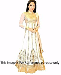 Shree Fashion Woman's Georgette With Dupatta [Shree (98)_Cream]