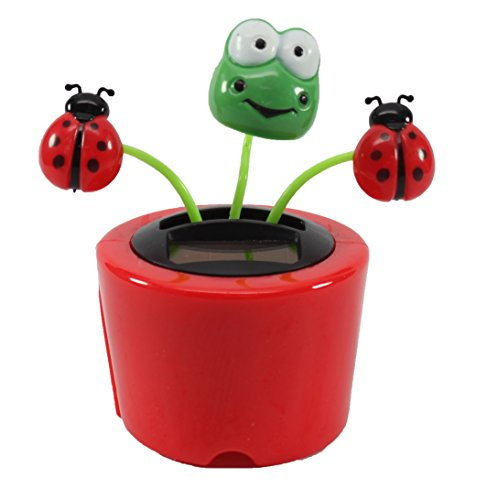Dancing Frog with Lady Beetles in Red Pot Solar Toy Perfect Holiday Gift Dashboard Office Desk Home Decor US Seller - 1