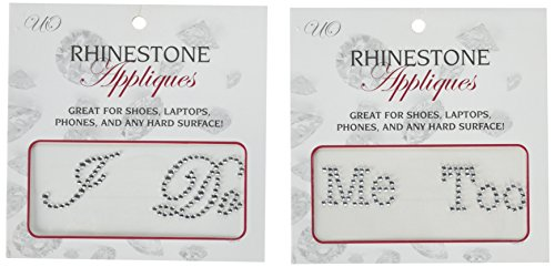 1 X 2 Wedding Rhinestone Shoe Decals Stickers -