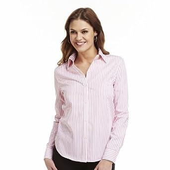 Chaps women 39 s no iron button front long sleeve shirt pink for No iron white shirt womens