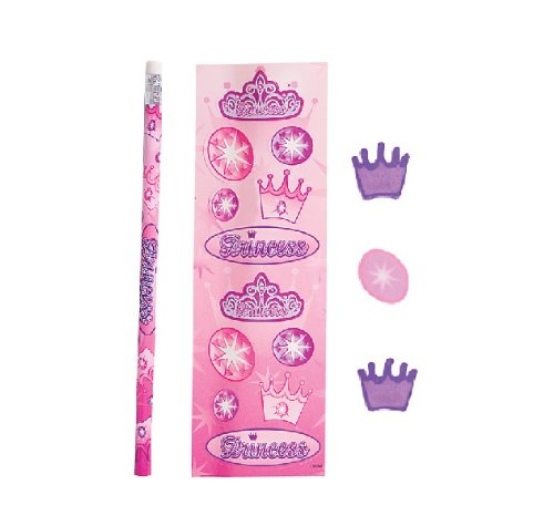 12 Packs of Princess Stationary Sets Girls Princess Party Bag Favors, Princess Stickers, Pencil and Erasers in Each 5 Piece Set.