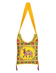 Rajrang Handmade Designs Camel Printed Cotton Embroidered Work Yellow Sling Bag