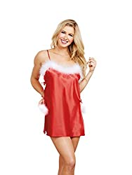 Dreamgirl Women's Satin and Marabou Toga, Lipstick Red, Large