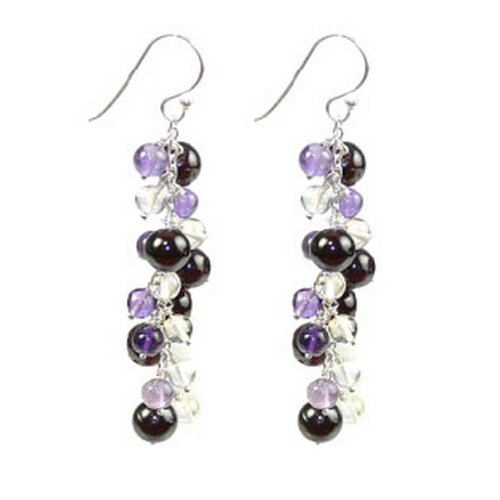 Franki Baker Mixed Semi-precious Gemstone (Garnets, Amethysts, Citrines) & Silver Drop Earrings