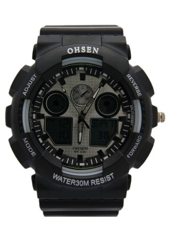 Ohsen Grey Dial And Multi Dial Display Black Band Digital Watches