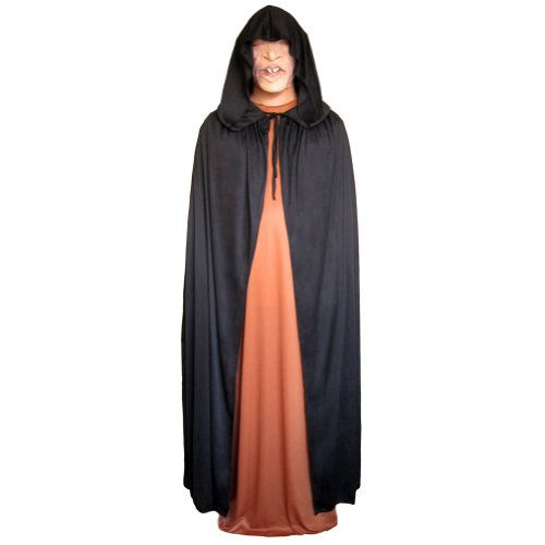 "54"" Black Cloak with Large Hood ~ Halloween Costume Cape (STC11517)"