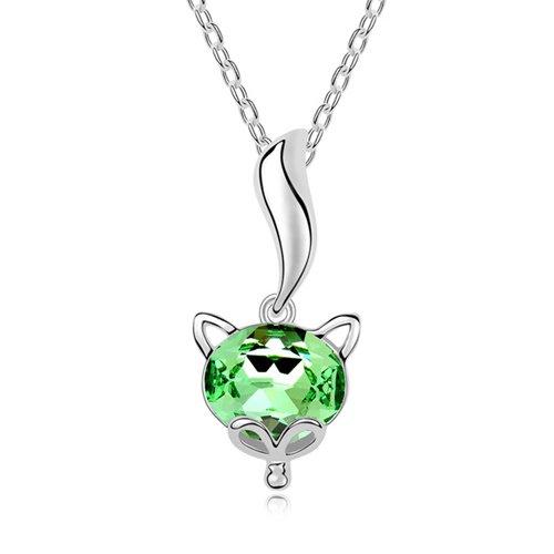 Mqueen Peridot Green Cute Fox Pendant Necklace front-327563