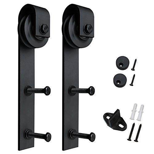 SMARTSTANDARD Sliding Barn Door Hardware Hangers 2pcs (Black) Low 2 Door Cabinet