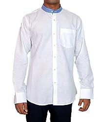 True Men Men's Casual Shirt (Linen_White Blue_Medium)